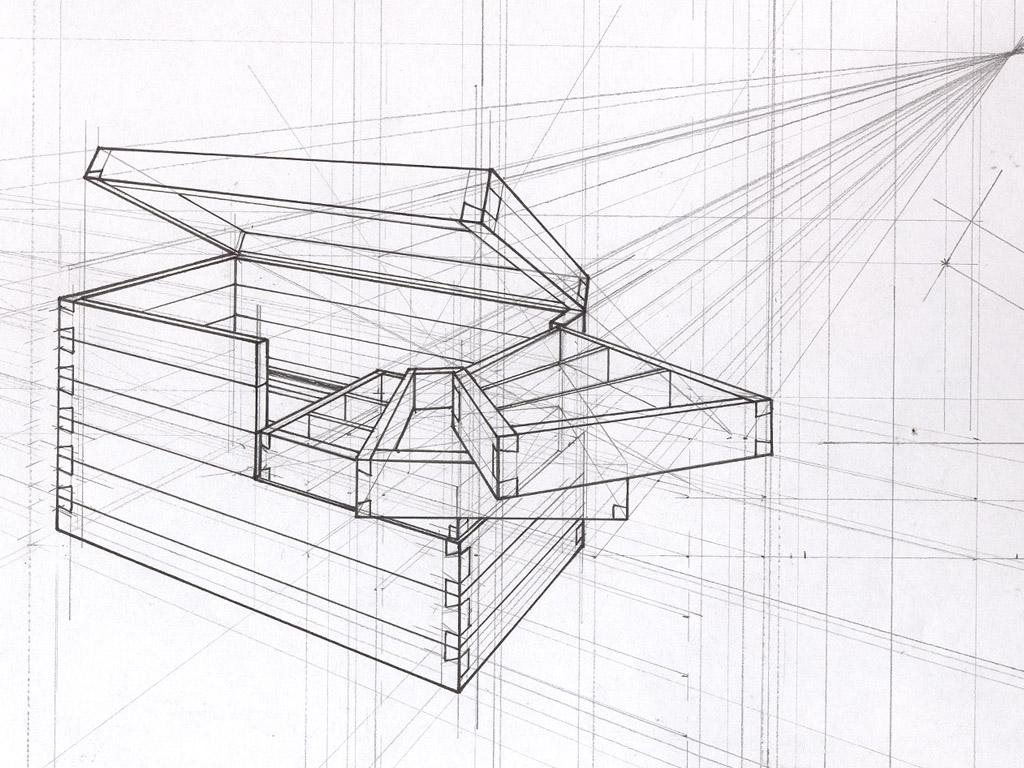 Schetsontwerp houten gereedschapskist